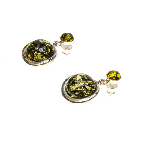SS Green Amber Circle Drop Earrings