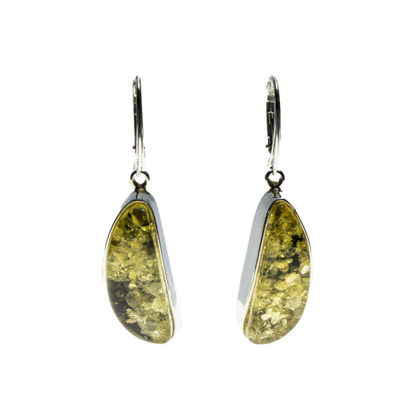 SS Green Amber Wedge Bezel Earrings