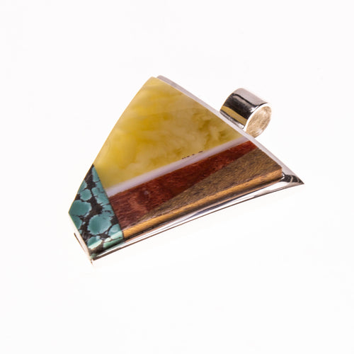 SS Amber, Turquoise, Coral, and Wood Inlay Pendant