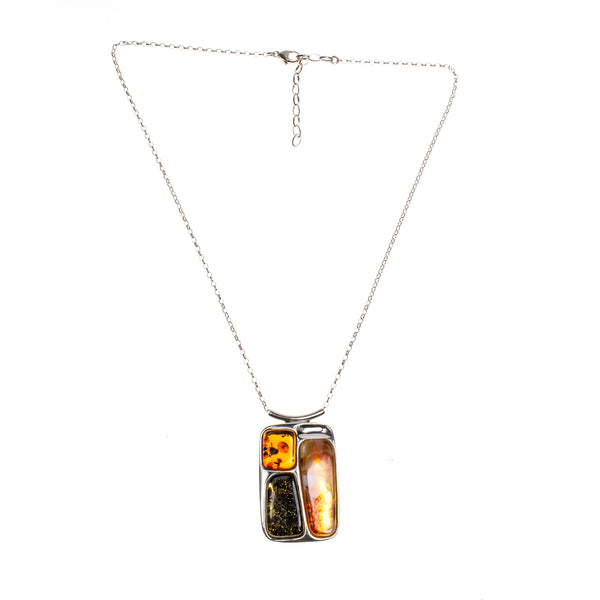SS Multicolored Amber Mod Rectangle Necklace