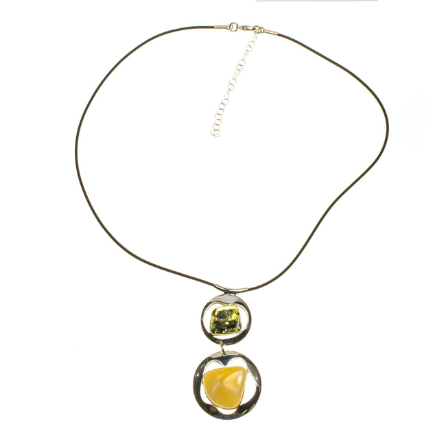 SS Green & Butterscotch Amber Wobbly Circle Corded Necklace