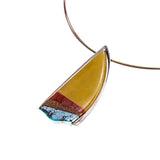 Sterling Silver Butterscotch Amber and Turquoise Inlay 3 Strand Necklace