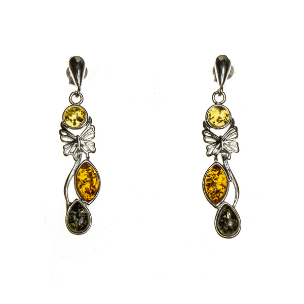 SS Multicolor Amber Butterfly Drop Earrings