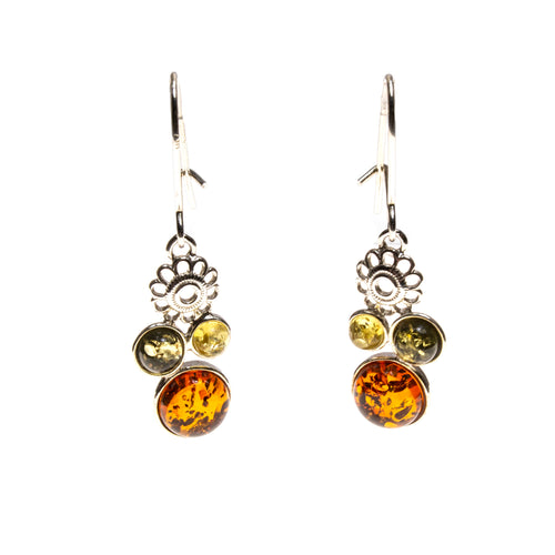 SS Multicolor Amber Flower Dangle Earrings