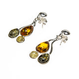 SS Multicolored Amber Drip Drop Earrings