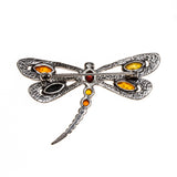 SS Multicolored Amber Dragonfly Pin