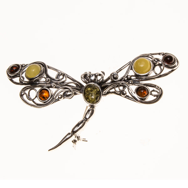 SS Multicolored Amber Filigree Dragonfly Pin