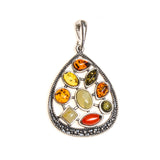 SS Multi-color Amber Art Deco Pear Pendant