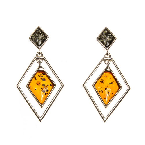 SS Concentric Marquis Amber Earrings