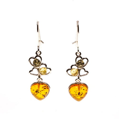 SS Multicolor Amber Heart Dangle Earrings
