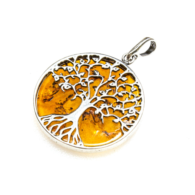 SS Amber Tree of Life Round Pendant