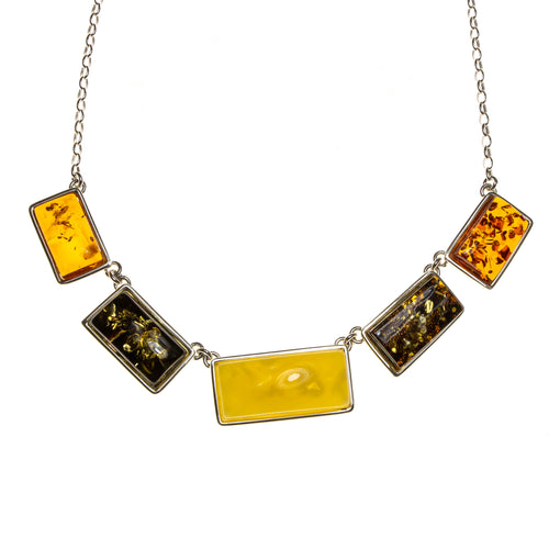 SS Multicolor Amber Rectangle Necklace
