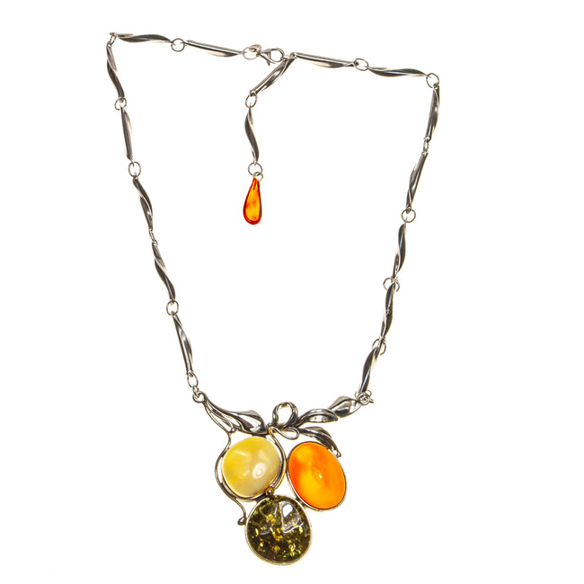 SS Leaves and Amber Berries Necklace