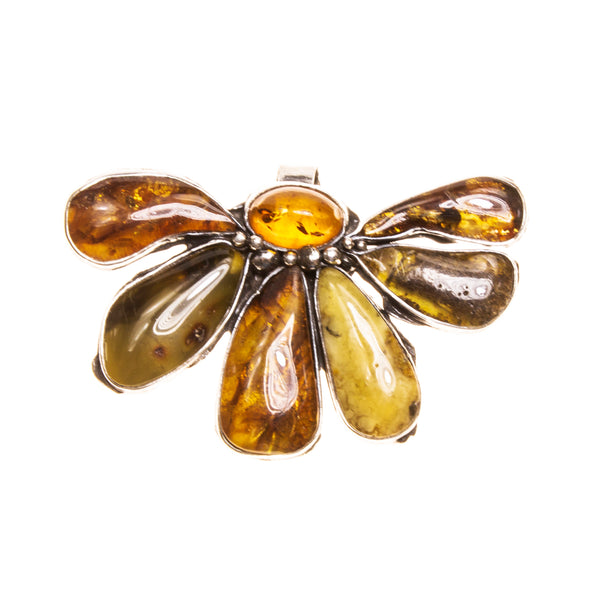 SS Large Amber Flower Pendant