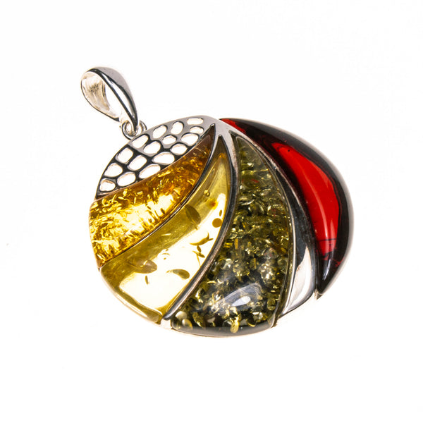SS Multi-colored Amber Round Gradient Swipe Pendant