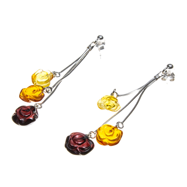 SS Multicolored Amber Rose Drop Earrings