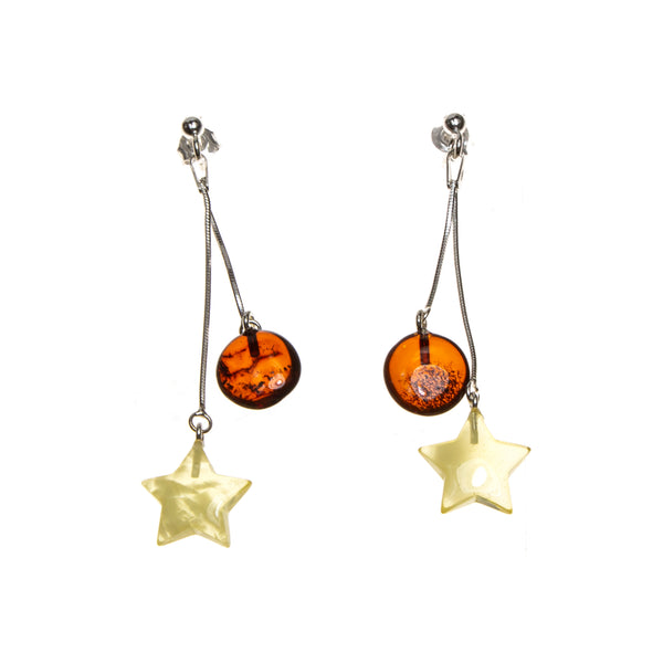 SS Amber Hung The Moon and the Stars Earrings