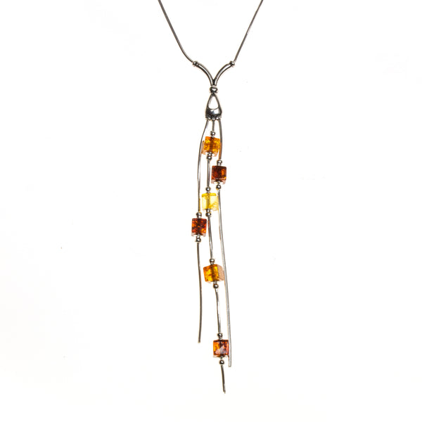 SS Multicolored Amber Cube Drop Necklace