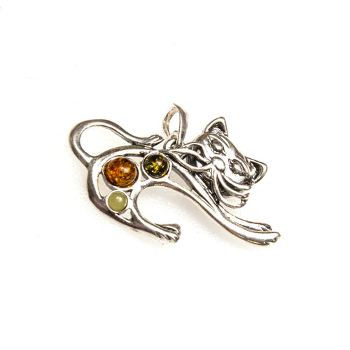 SS Amber Stretching Cat Pendant