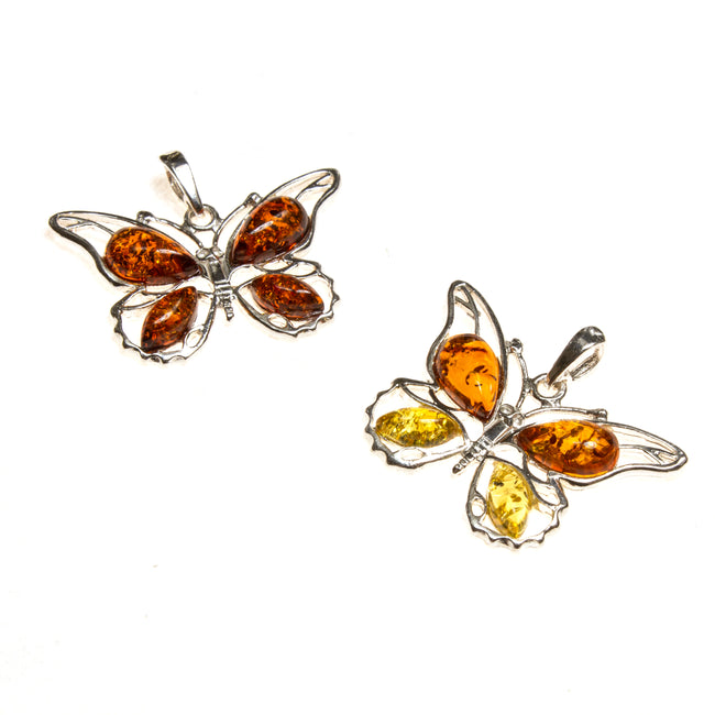 SS Amber Butterfly Pendant