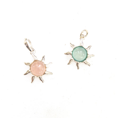 SS Pink Rose Quartz and Seafoam Chalcedony Sun Pendants