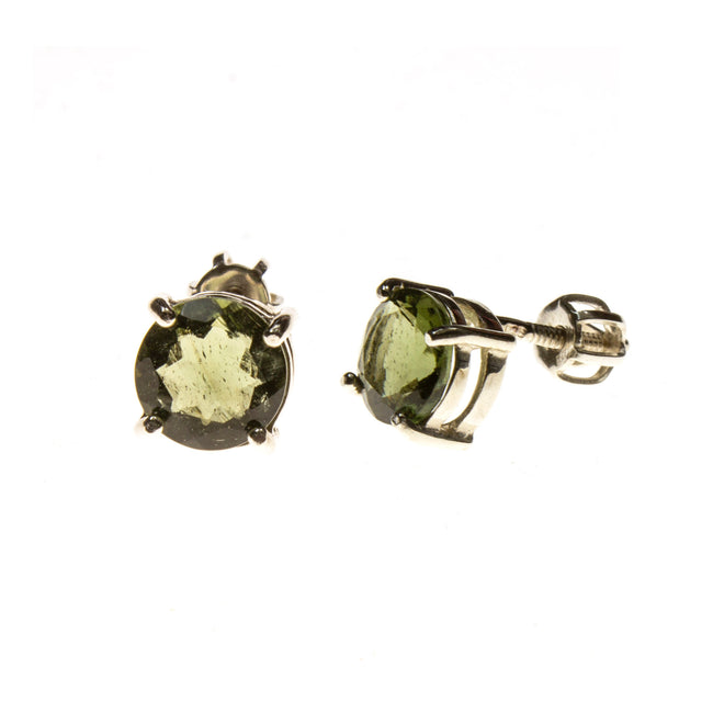 Sterling Silver 7mm Round Moldavite Post Earrings