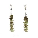 Sterling Silver Moldavite Chip Stack Dangle Earrings