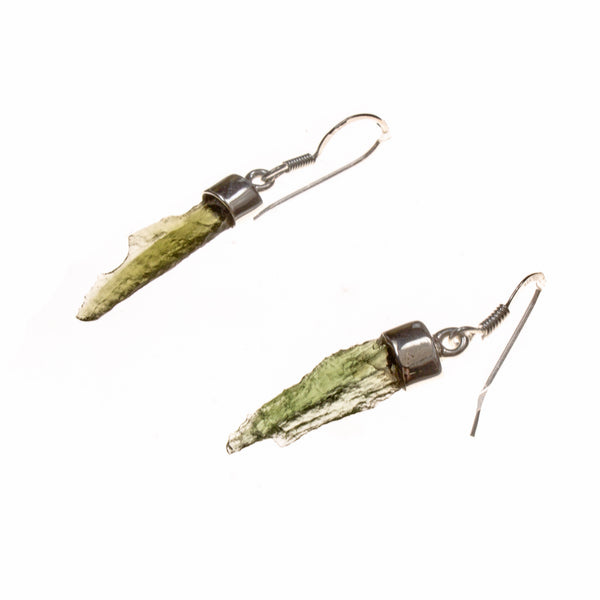 Sterling Silver Moldavite Nugget Dangle Long Bar Earrings