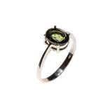 Sterling Silver Moldavite Oval Ring