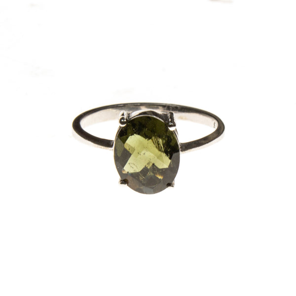 Sterling Silver Moldavite Checkerboard Cut Oval Ring