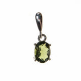 Sterling Silver Small Moldavite Oval Pendant