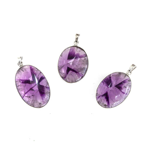 SS Star Amethyst Oval Cabochon Pendants
