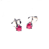 Sterling Silver 3mm Ruby Prong Stud Earrings