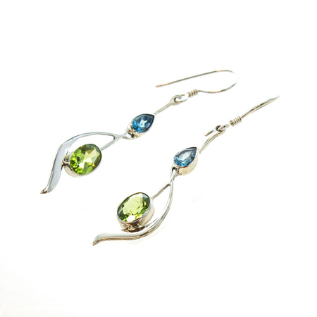 SS Labradorite/Rainbow Moonstone Double Marquis Dangle Earrings
