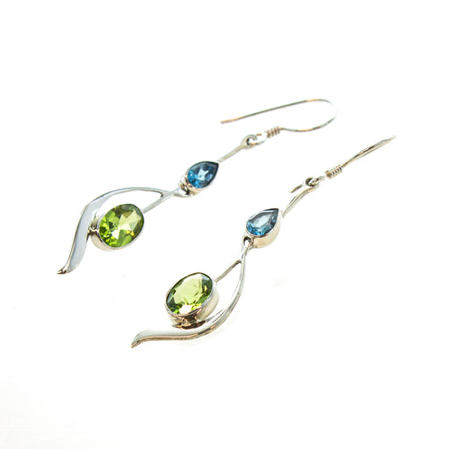 SS Blue Topaz Pear & Peridot Oval Swoosh Earrings