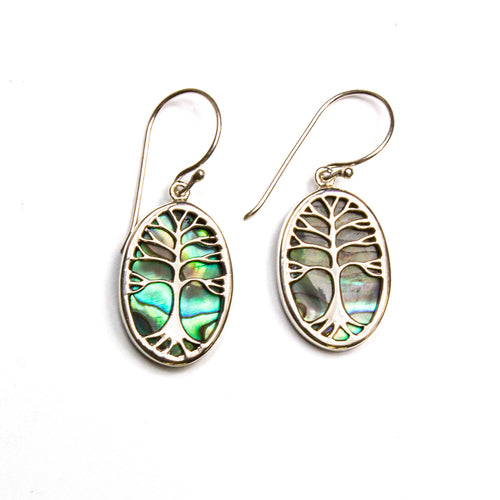 SS Abalone Tree of Life Oval Earrings