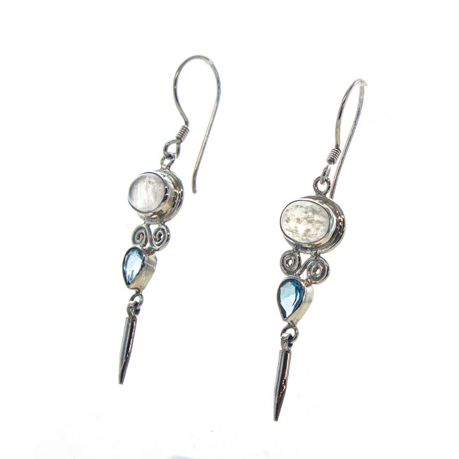 SS Pointed Rainbow Moonstone & Blue Topaz Dangle Earrings