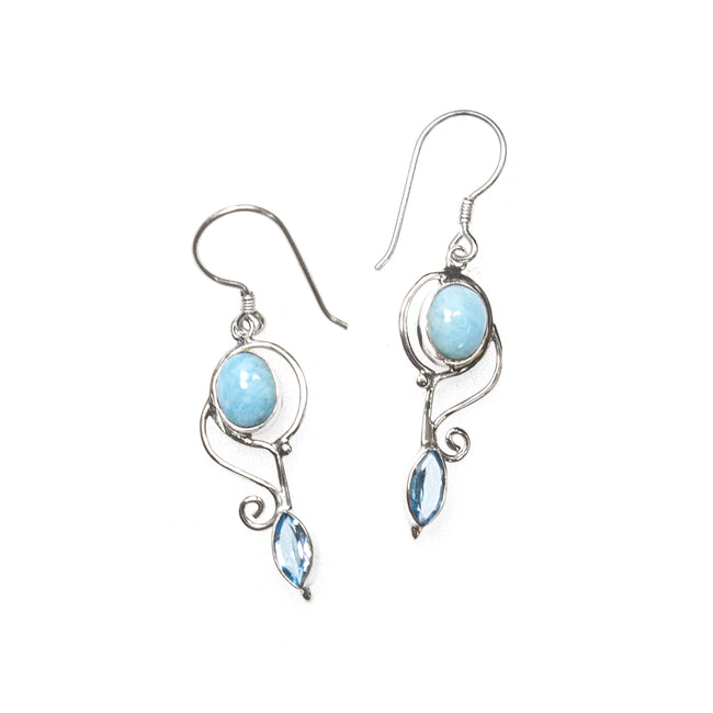 SS Larimar Oval & Blue Topaz Marquis Wire Dangle Earrings