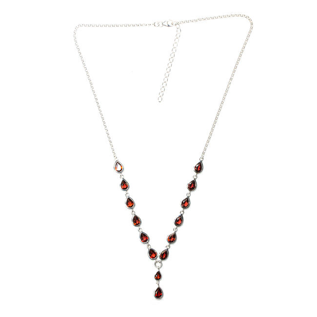 SS Garnet Pear Y-Necklace