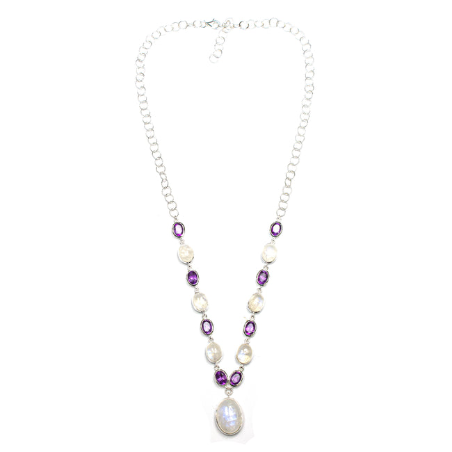 SS Rainbow Moonstone & Amethyst Necklace