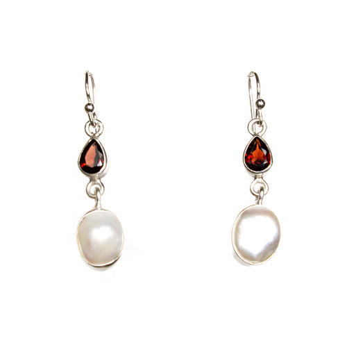 SS Garnet Pear & Pearl Dangle Earrings