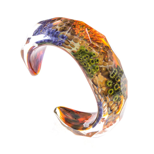 SS Millefiori Garden Faceted Glass Cuff Bracelet