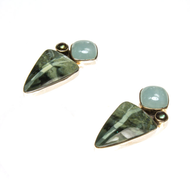 SS Chalcedony Pearl & Morrisonite Jasper Earrings