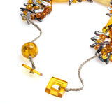 Carved Amber Barrel and Biwa Stick Pearl Necklace