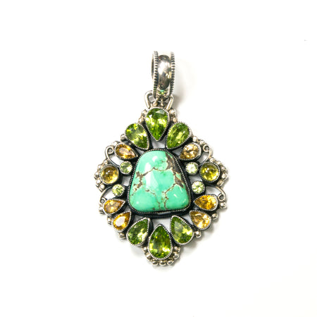 Sterling Silver Created Peridot Briolette Lariat Necklace