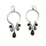 Hammered SS Onyx Chandelier Hoop Earrings