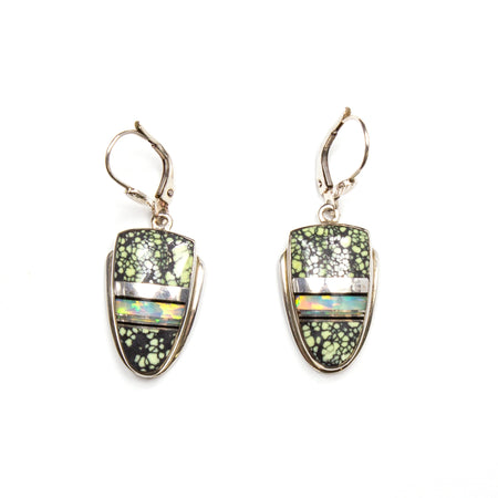 SS Indigo Ceramic Interior Earrings