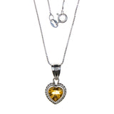 Sterling Silver Citrine Heart Necklace