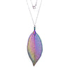 Sterling Silver Iridescent Leaf Necklace