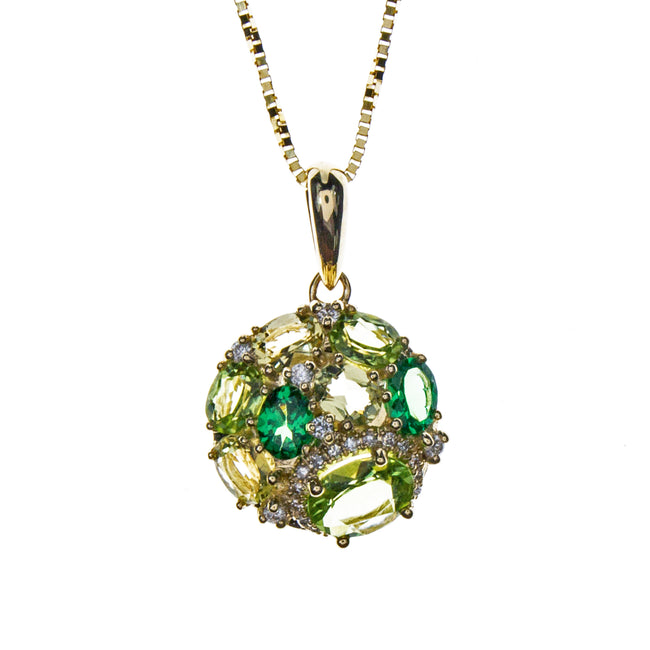 14K Yellow Gold Peridot Tsavorite Necklace